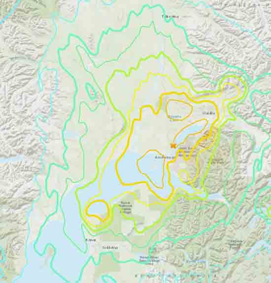 USGS topo map of Alaska earthquake of December 2018.