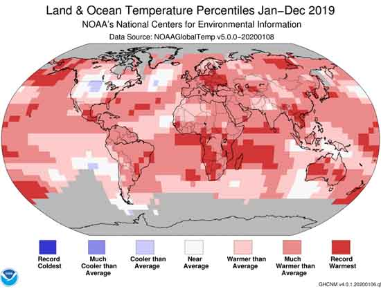 NOAA Global Temperature Percentiles for the Year of 2019, by NOAA.