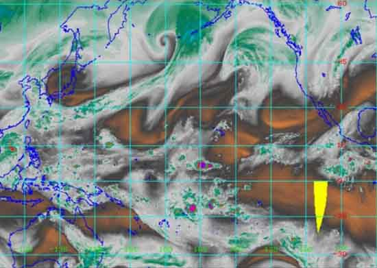 28 KM water vapor satellite of whole North Pacific Ocean.