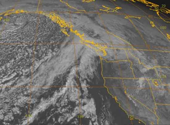 4 KM visible satellite view of Sierra Nevada in relation to Northwest United States.