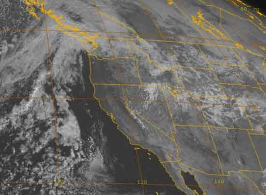 4 KM visible satellite animation of Western United States centered on the Sierra Nevada.