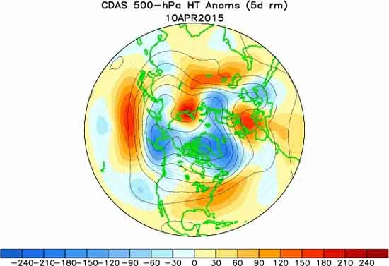 Varations in height of 500 mb zone around North Hemisphere.