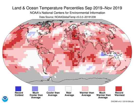 Land & Ocean Temperature Percentiles Sept-Nov 2019 measured by NOAA.