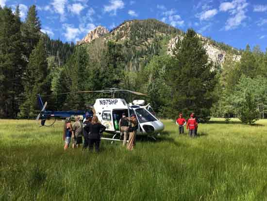 MONO SAR & CHP Helicopter in Mono Village Meadow, Image by M. Quiring.