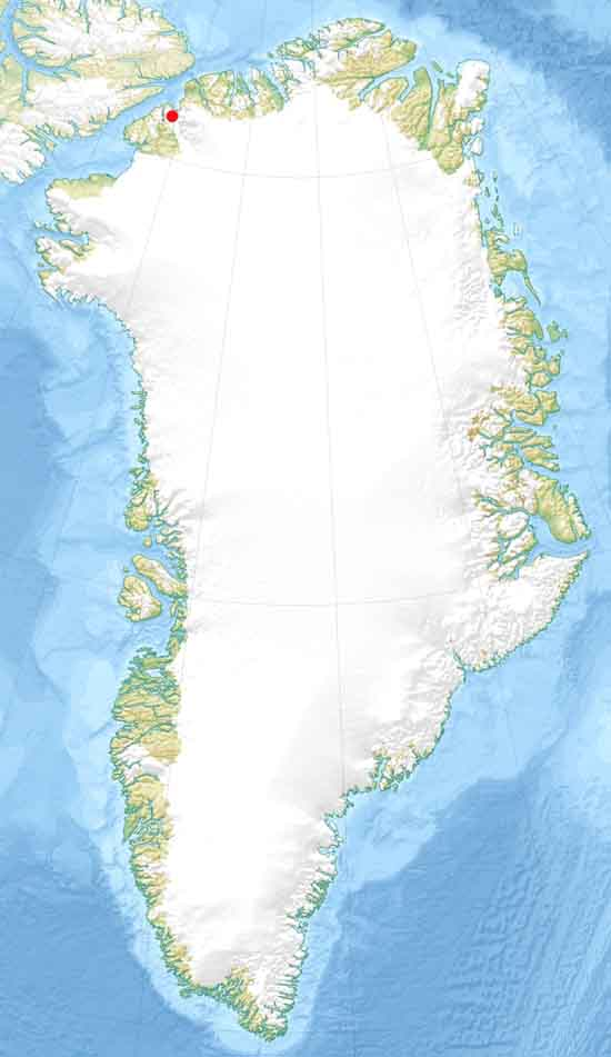 Greenland Map locating remote, far Northern location of Petermann Glacier, by Uwe Dedering.
