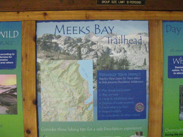 Meeks Bay Trailhead sign.