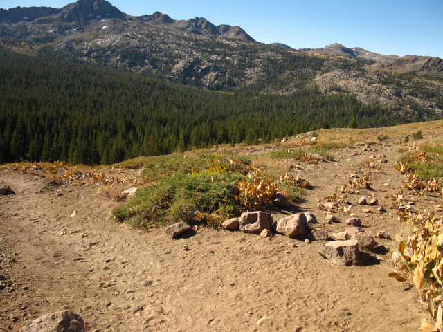 Looking South at the Tahoe Yosemite route around SW of Round Top, across the 1st Southbound trail junction to the TY Trail off the PCT
