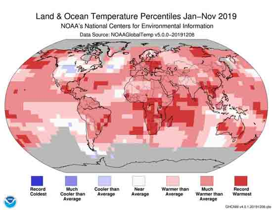 Land & Ocean Temperature Percentiles Jan-Nov 2019, NOAA.
