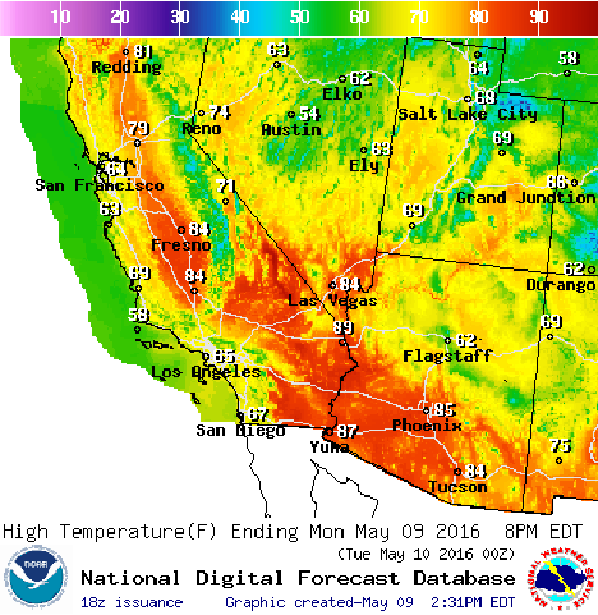 Graphical Weather Forecast of Sierra Nevada and surrounding areas.