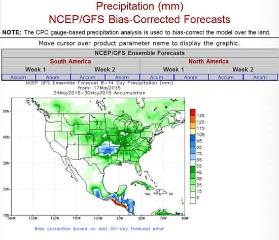 Ncep Precipitation Forecasts For Us And South America