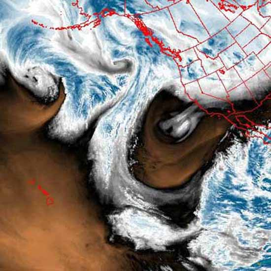 National Weather Service Satellite image of Northeast Pacific - Water Vapor Loop.