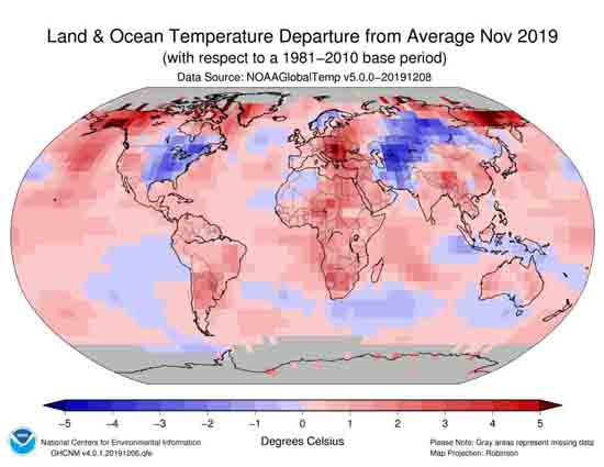 November 2019 Temperature Anomalies, NOAA.