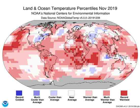 Global Land & Ocean Temp Percentiles November 2019
