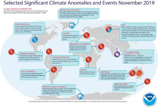 Selected Significant Climate Anomalies and Events November 2019, NOAA.