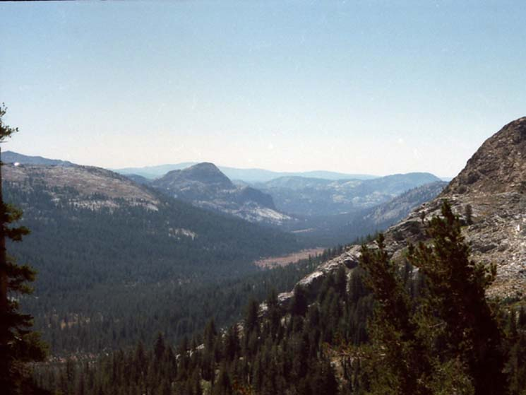 Looking Southwest down Jack Main Canyon at Grace Meadow and Chittenden Peak.