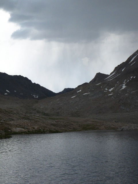 Rain into the Ionian Basin beyond Wanda Lake, Evolution Basin, Kings Canyon National Park.