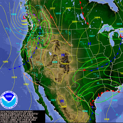 Fronts and precipitation weather map.