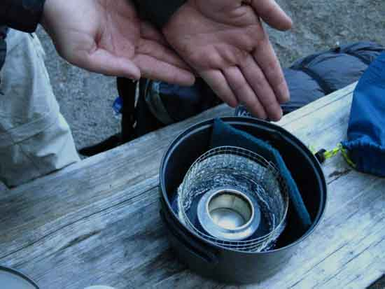 Aaron's homemade ultralight-ultra tight and compact alcohol backpacking stove.