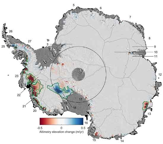 Changes to the Antarctic ice sheet's thickness from 1992 to 2017, Shepherd et al 2019/Geophysical Research Letters/AGU.