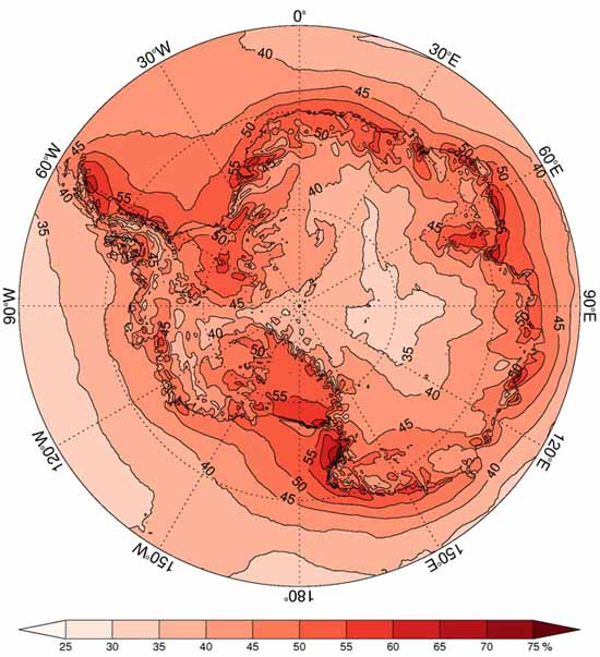 circular map, showing percentage of annual precip brought by EPEs, by British Antarctic Survey.