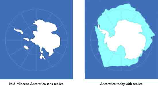 The Miocene Antarctic vs Antarctic Today, Caption, image credit Richard Levy & UW@Madison
