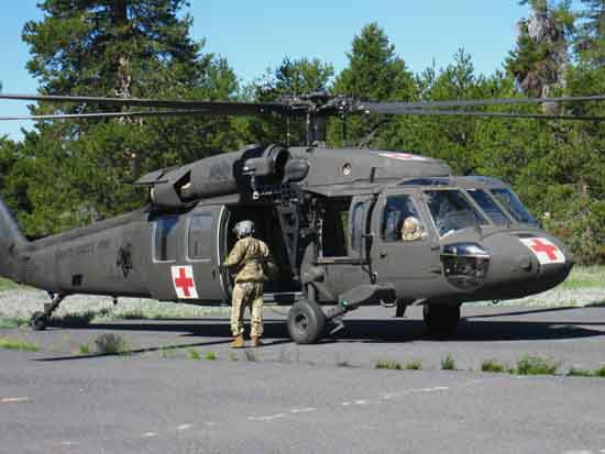 Army Reserve Rescue Copter assists Lake Alpine SAR at Bear Valley's Dirt Airport.