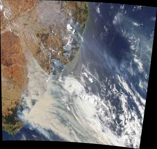 Australia burning, smoke from satellite, by Joshua Stevens, using Landsat data from the U.S. Geological Survey and MODIS data from NASA EOSDIS/LANCE and GIBS/Worldview.