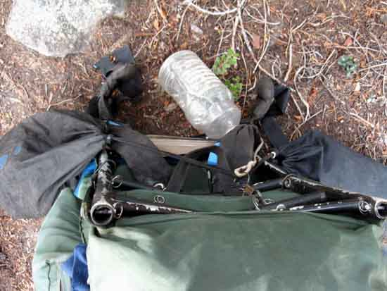 Loading heavy backpack hiking Tahoe Yosemite Trail unresupplied.