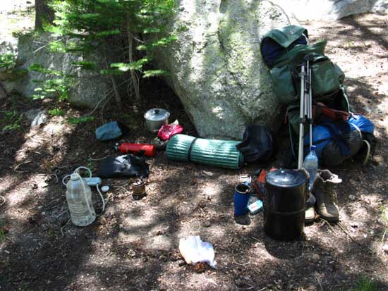 Backpacking lunch-break water system at East Carson River.