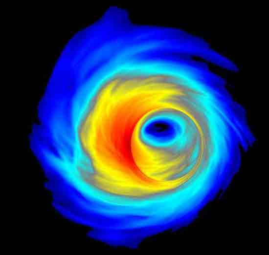 This is a simulation of an accretion disk surrounding a supermassive black hole, Scott C. Noble, Rochester Institute of Technology.