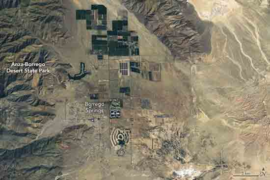 NASA Earth Observatory images of Anza Borrego super bloom by Joshua Stevens, using Landsat data from the U.S. Geological Survey.