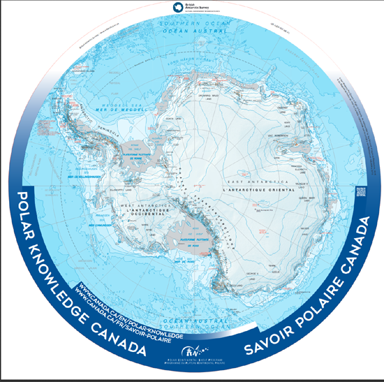 Canada/British Antarctic Survey detailed map of Antarctica