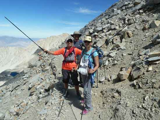 Tollermom, Gina, and Dan hiking Mount Whitney in a day.