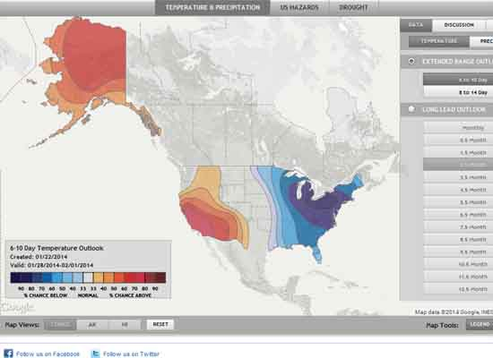 High Sierra and US Temperature and Precipitation Probabilities.