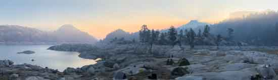 Smoky Campsite on the Southeastern Shore of Spicer Meadow, Dardanelles on Right, unknown firefighter photographer?