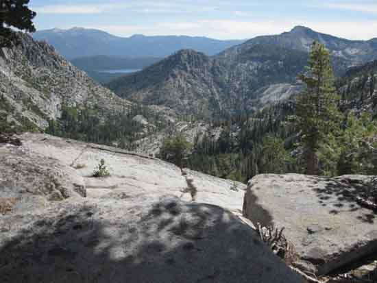 East Desolation Wilderness and Mount Tallac looking down at Jobs Sister and Freel Peak from Phipps Pass