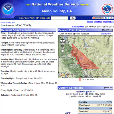 WEATHER for High Sierra Backpackers: REPORTS, FORECASTS, PREDICTIONS