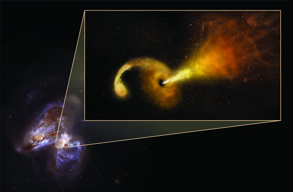 supermassive black hole shreds passing star, NRAO, 2018.