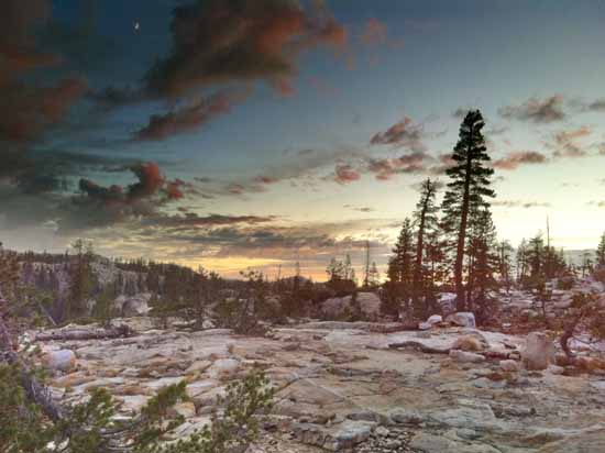 Dusk at Gem Lake in the Emigrant Wilderness.
