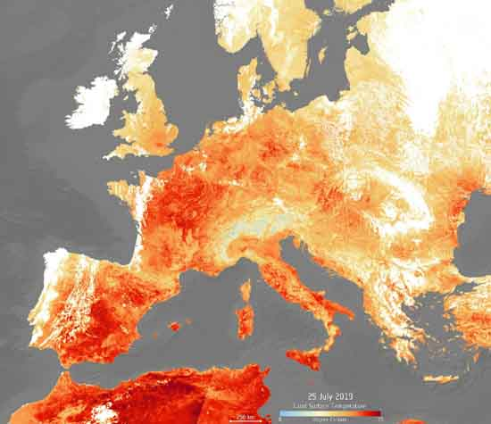Europe during 25 July 2019, Copernicus Sentinel data (2019) ESA - Copernicus Sentinel data (2019).
