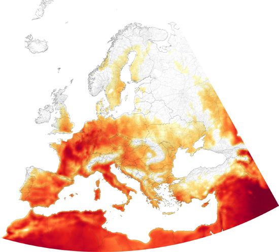 European Heatwave, July 25, 2019, depicts air temperatures at 2 meters (about 6.5 feet) above the ground. The darkest red areas are where the model shows temperatures surpassing 40°C (100°F), Joshua Stevens, NASA.