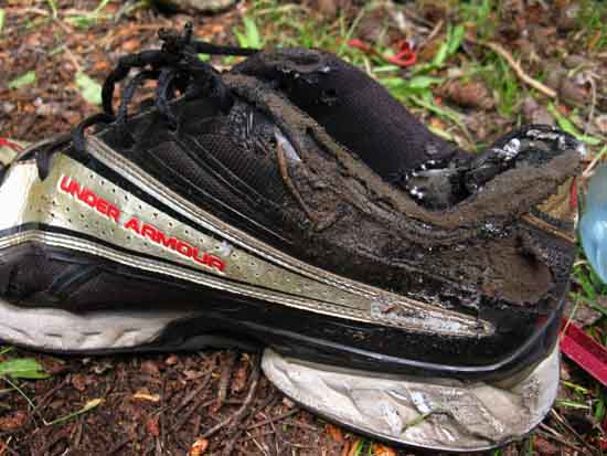 Fire damaged backpacking camp shoe.