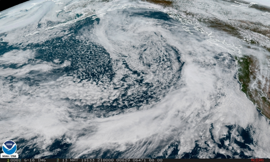 "New GOES-17, ""West,"" last 11 hours over the North Pacific GeoColor View by NOAA."