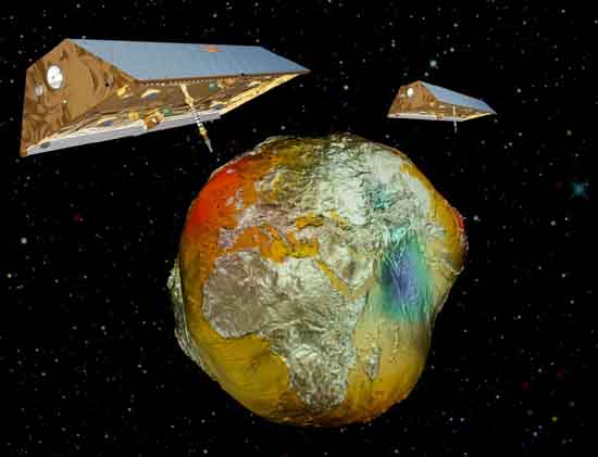The satellite twins GRACE with the Earth's gravitational field, AIRBUS/GFZ.