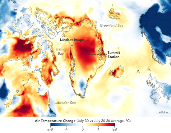 Greenland Temperatures July 30 vs. Average Temps, Goddard Earth Observing System (GEOS), by Joshua Stevens, NASA.