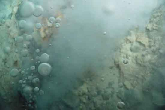 CO2 Bubbles from Sea floor Hydrothermal Vent, Photo/Bob Embley, NOAA Office of Ocean Exploration.