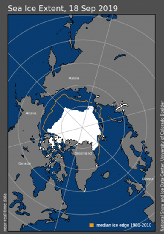 Arctic sea ice extent for September 18, 2019, National Snow and Ice Data. Center.