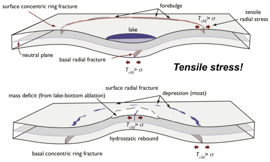 Diagram showing how a floating ice shelf bends (and may also fracture) in response to the filling and draining of a meltwater lake. Adapted from Fig 1. Banwell et al 2013. GRL.
