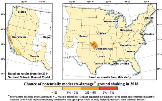 What are your chances of experiencing Moderately-Damaging Ground Shaking in 2018? USGS