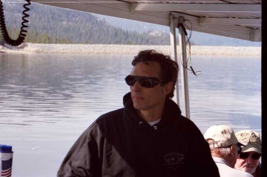 Jim, the owner of Vermilion Valley Resort, piloting the VVR ferry out to Mono Creek.